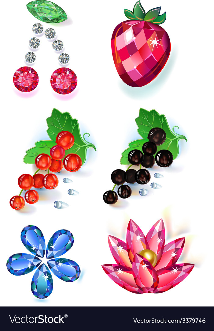 Fruit flowers colored gems brooches set vector | Price: 3 Credit (USD $3)