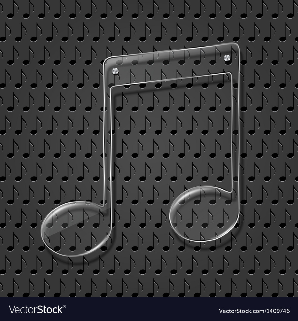 Glass music note sign vector | Price: 1 Credit (USD $1)