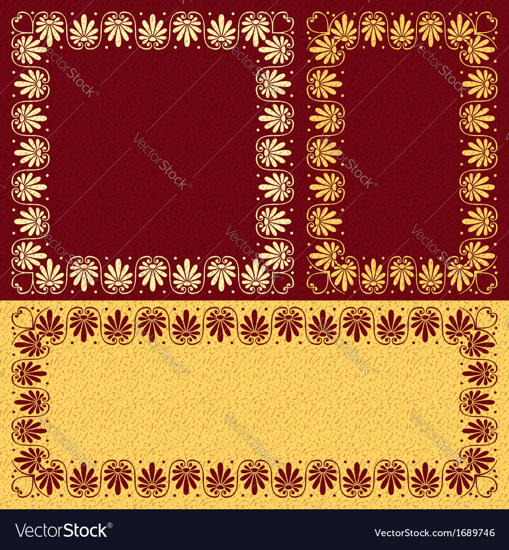 Golden floral greek ornament meander vector | Price: 1 Credit (USD $1)