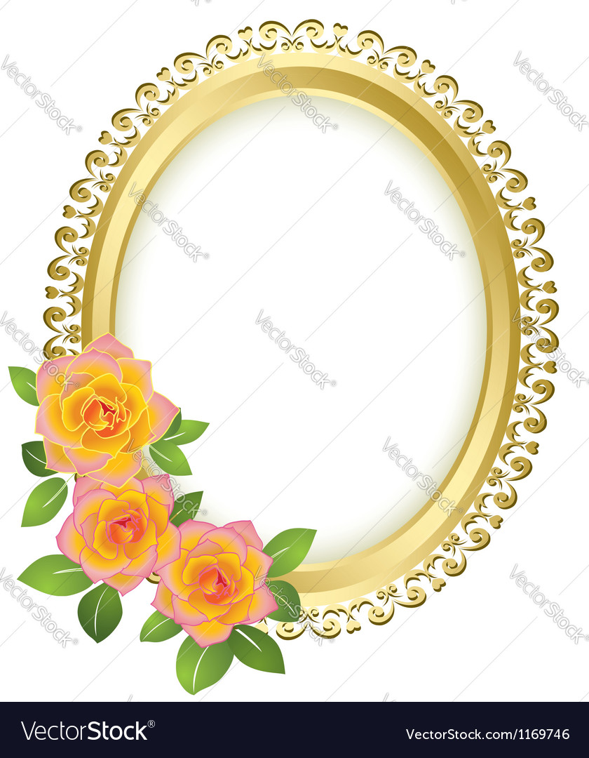 Golden oval frame with flowers vector | Price: 1 Credit (USD $1)
