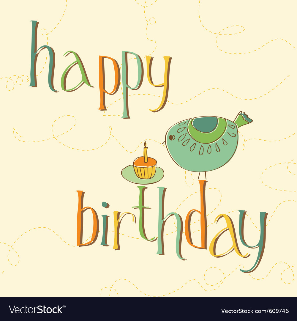 Greeting birthday card with cute bird and cake wit vector | Price: 1 Credit (USD $1)