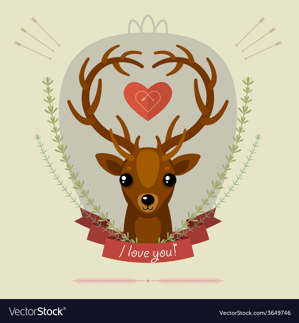 Greeting card with deer vector | Price: 1 Credit (USD $1)