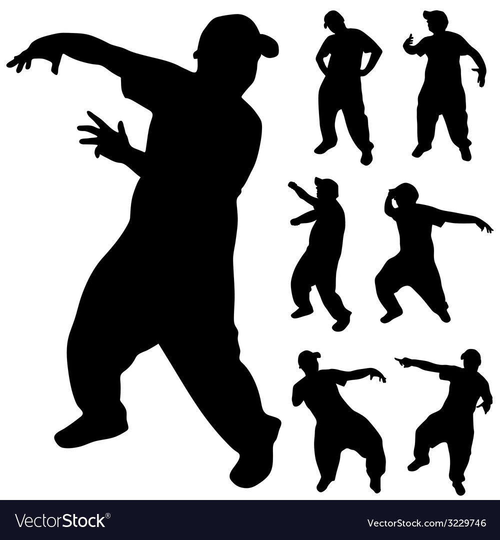 Hip hop dancer silhouette vector | Price: 1 Credit (USD $1)