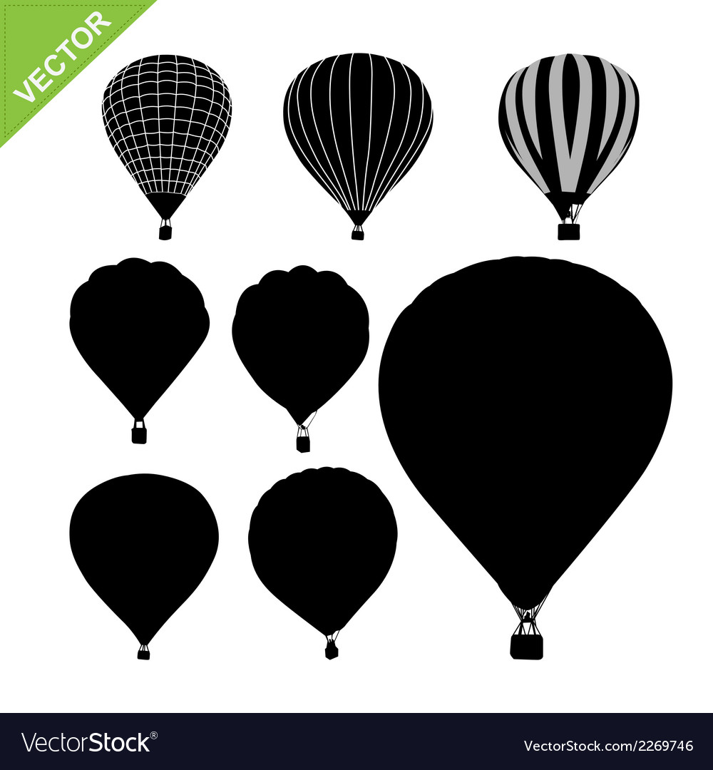 Hot air balloon silhouettes vector | Price: 1 Credit (USD $1)