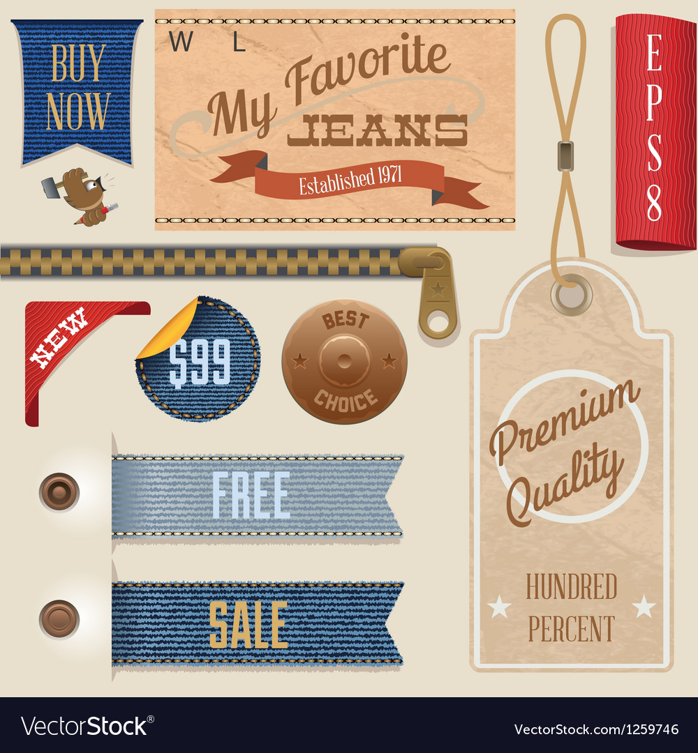 Jeans label set vector | Price: 3 Credit (USD $3)