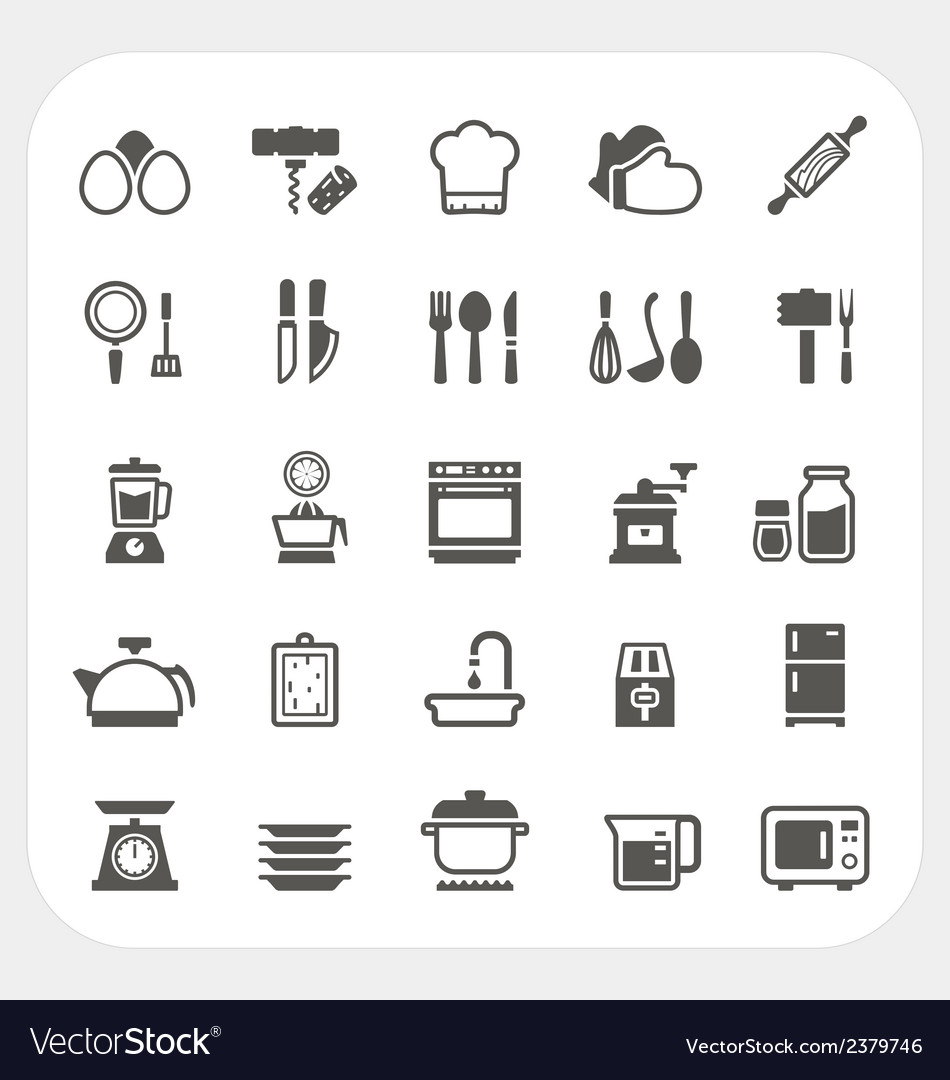 Kitchen and cooking icons set vector | Price: 1 Credit (USD $1)