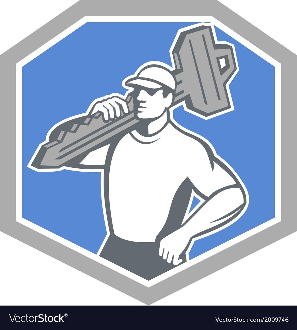 Locksmith carry key shield retro vector | Price: 1 Credit (USD $1)