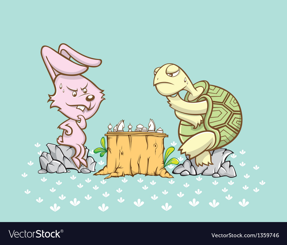 Rabbit and turtle are playing a chess game vector | Price: 3 Credit (USD $3)