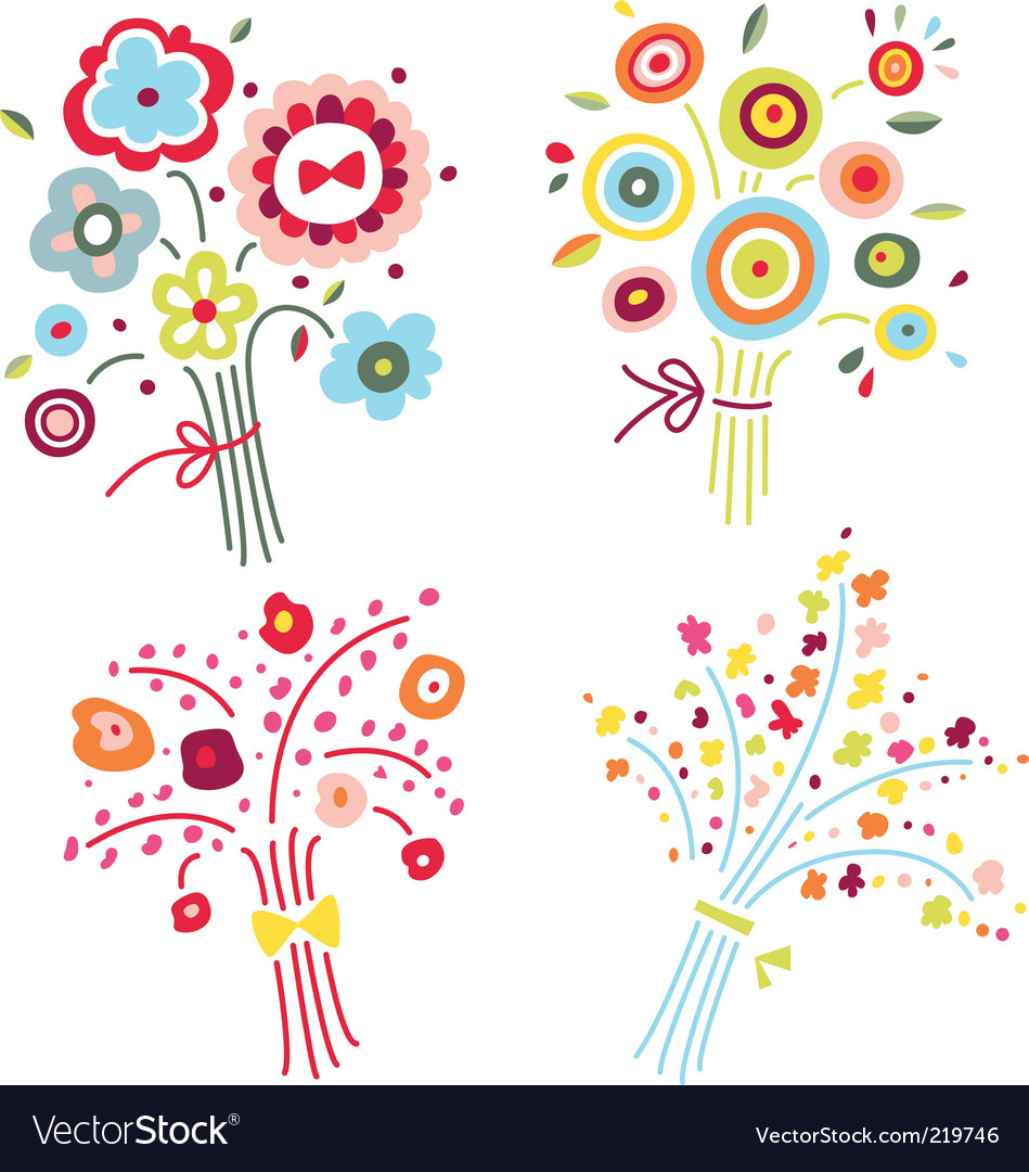 Set of colorful bouquets vector | Price: 1 Credit (USD $1)