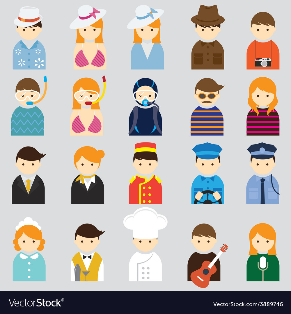 Various people symbol icons hotel and travel set vector | Price: 1 Credit (USD $1)