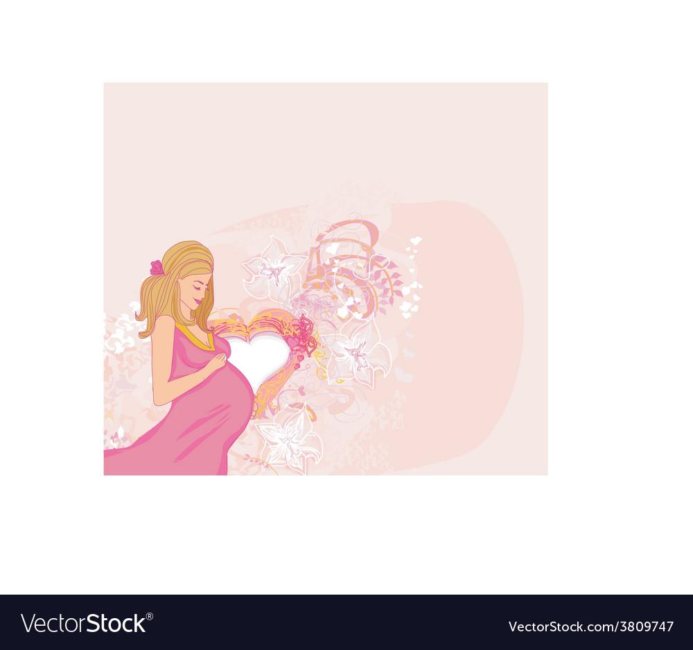 Beautiful pregnant girl vector | Price: 1 Credit (USD $1)