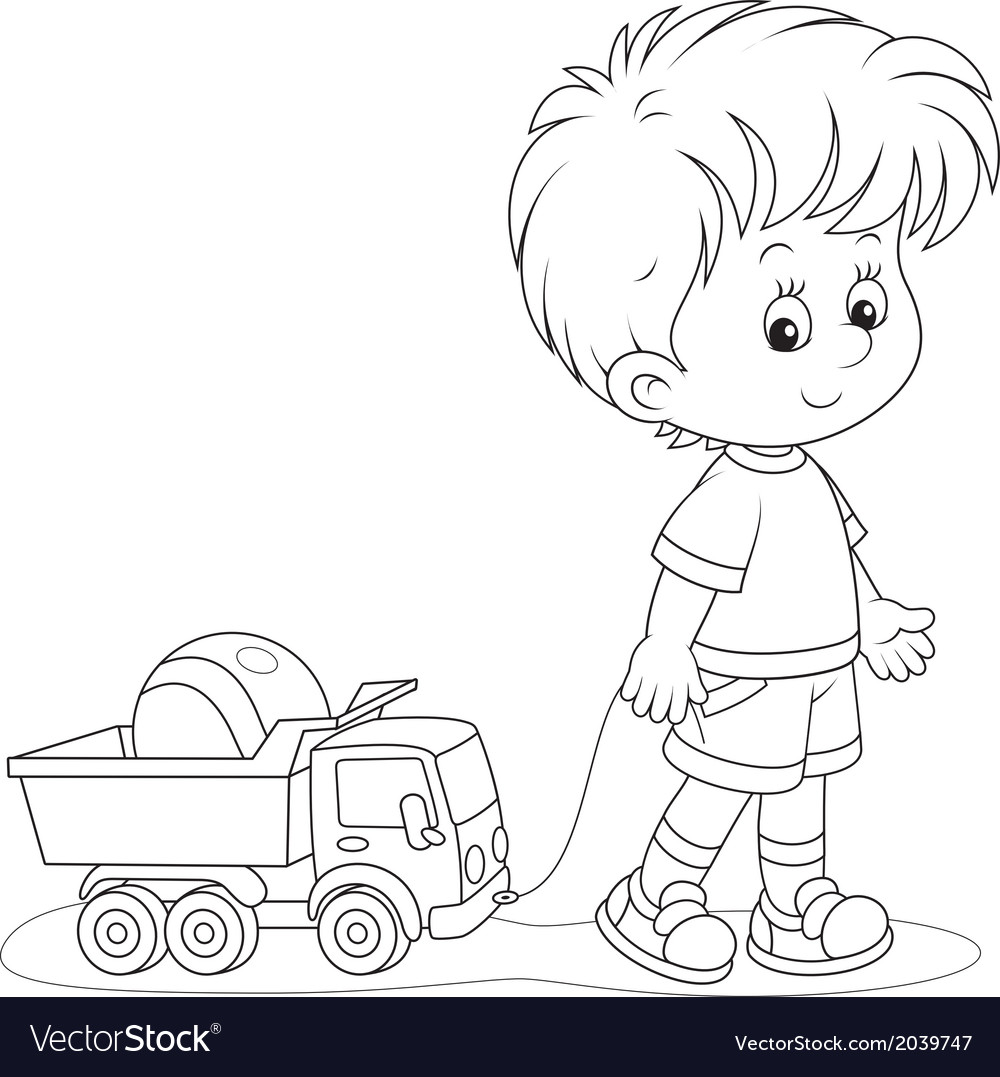 Boy walking with toys vector | Price: 1 Credit (USD $1)