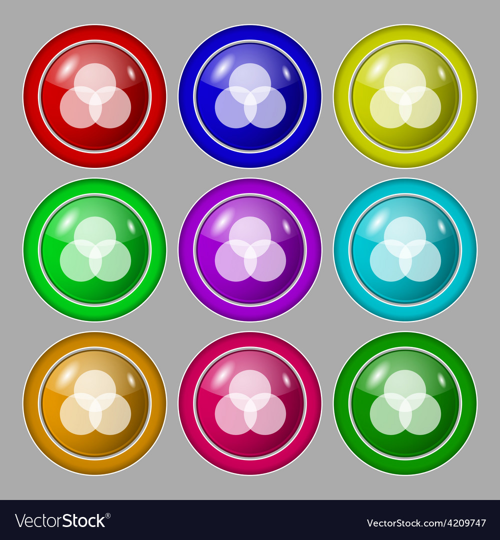 Color scheme icon sign symbol on nine round vector | Price: 1 Credit (USD $1)