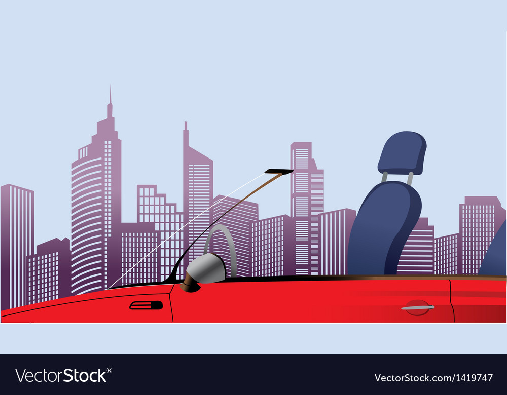 Convertible cityscape view vector | Price: 1 Credit (USD $1)