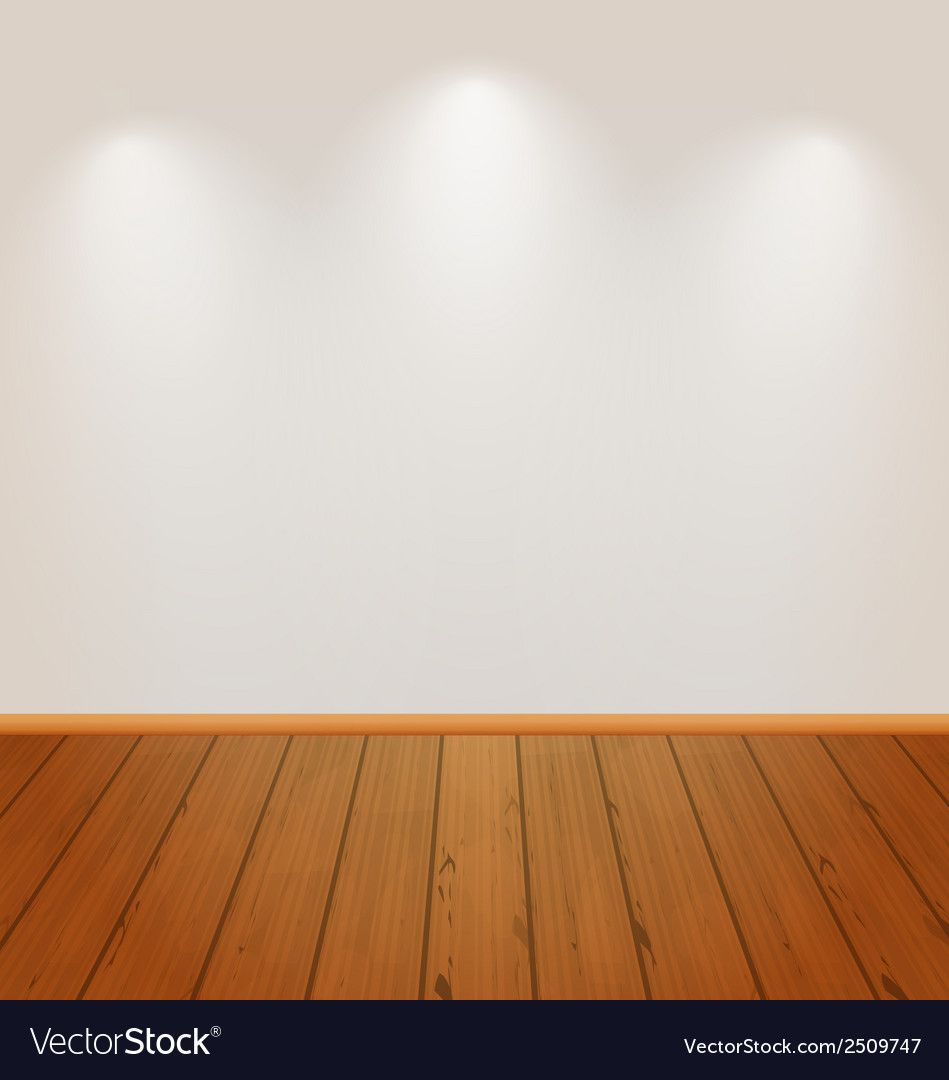 Empty wall with light and wooden floor vector | Price: 1 Credit (USD $1)