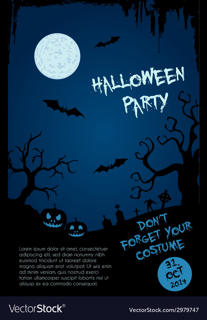 Halloween party flyer template - blue and black vector | Price: 1 Credit (USD $1)
