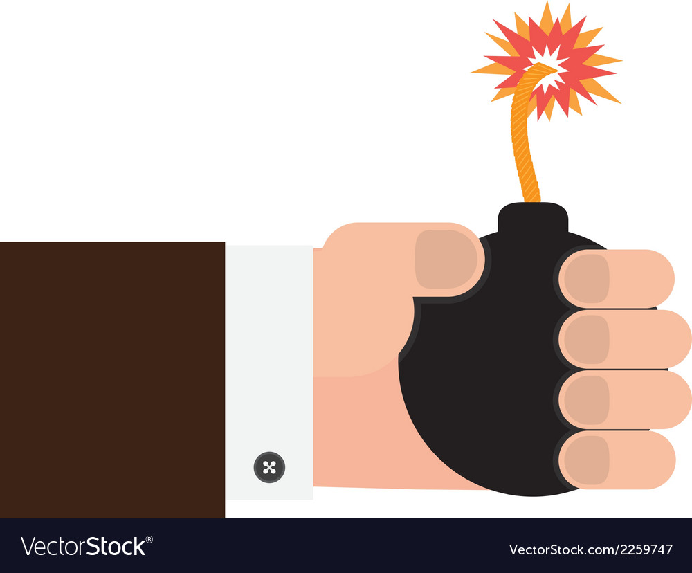 Hand holding the bomb vector | Price: 1 Credit (USD $1)