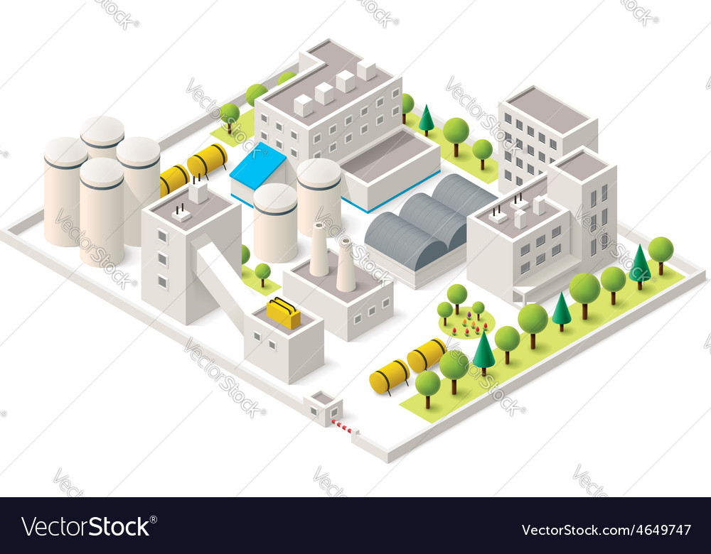 Isometric industrial district vector | Price: 1 Credit (USD $1)