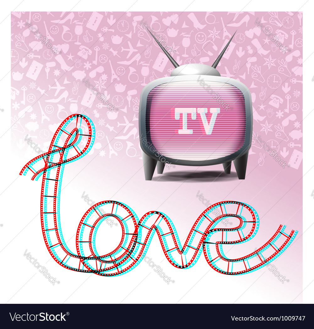 Love television symbols vector | Price: 3 Credit (USD $3)