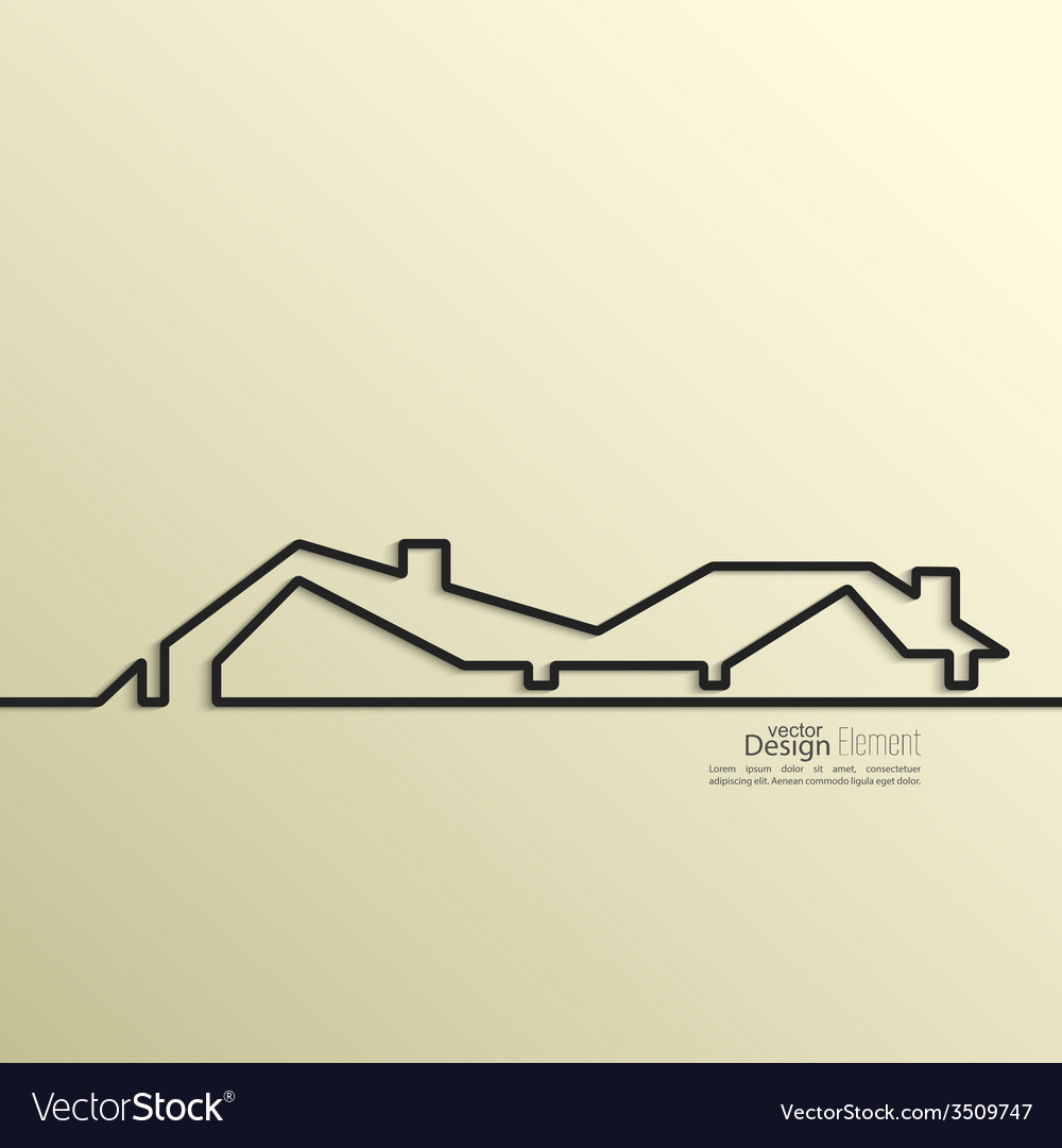 Ribbon in the form of house with shadow and space vector | Price: 1 Credit (USD $1)