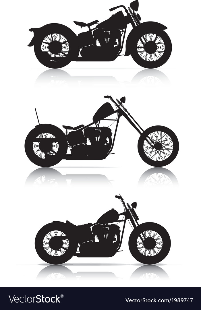 Set of motorcycle silhouettes vector | Price: 1 Credit (USD $1)