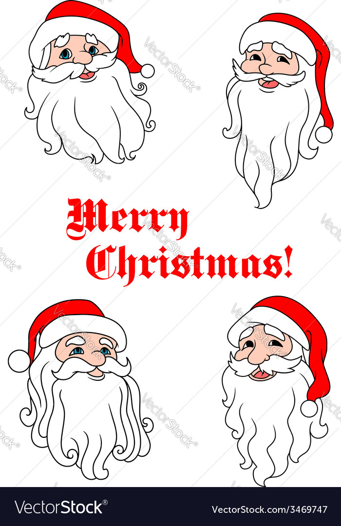 Smiling santa claus heads vector | Price: 1 Credit (USD $1)