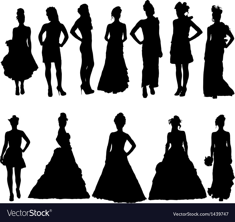 Women silhouettes in various dresses vector | Price: 1 Credit (USD $1)