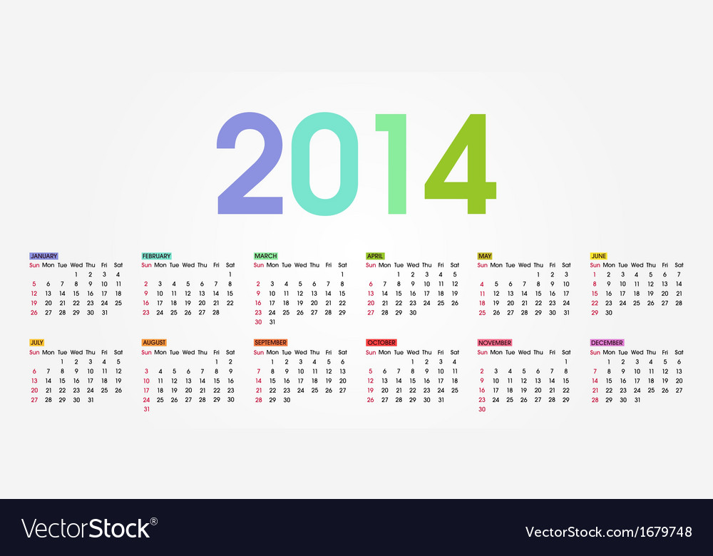 2014 calendar weeks start with sunday vector | Price: 1 Credit (USD $1)