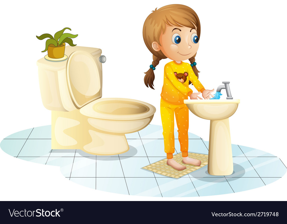 A young lady washing her hands vector | Price: 1 Credit (USD $1)