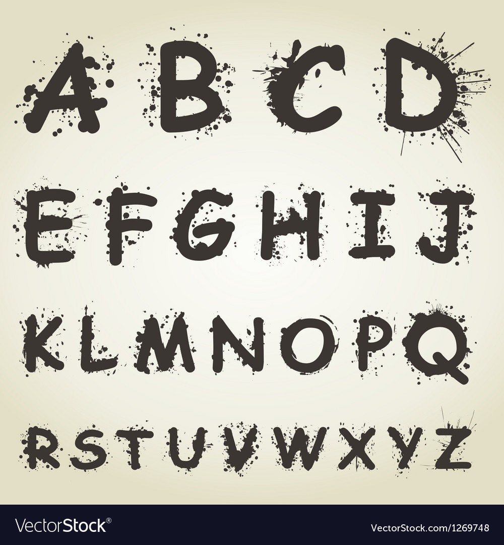 Blot alphabet fonts vector | Price: 1 Credit (USD $1)