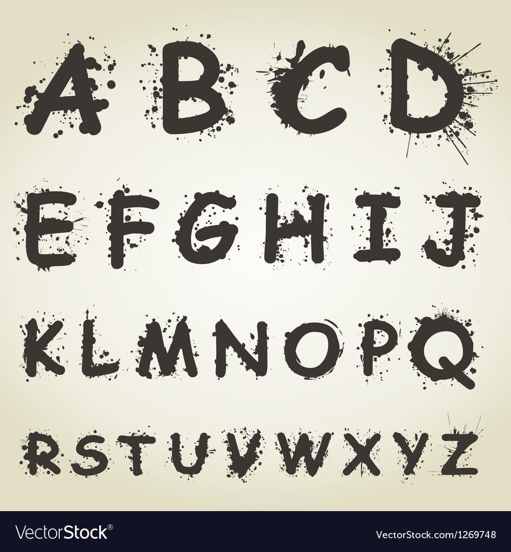 Blot alphabet fonts vector | Price: 1 Credit (USD $1)