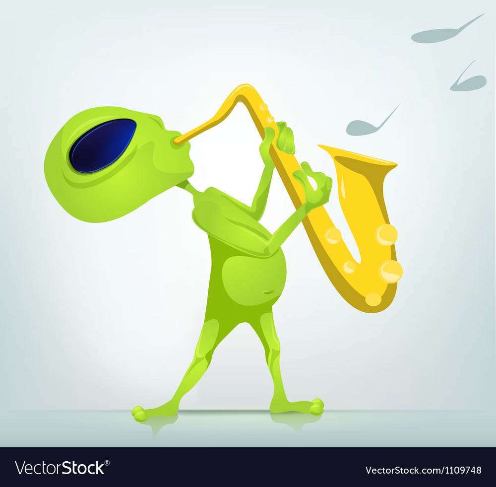 Cartoon alien saxophone vector | Price: 1 Credit (USD $1)