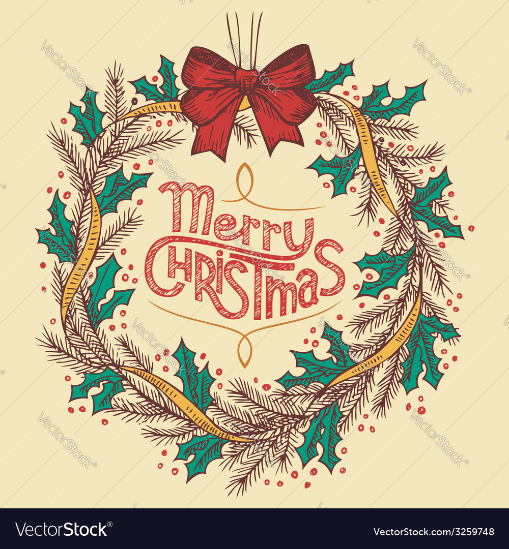 Christmas wreath line drawing vector | Price: 1 Credit (USD $1)