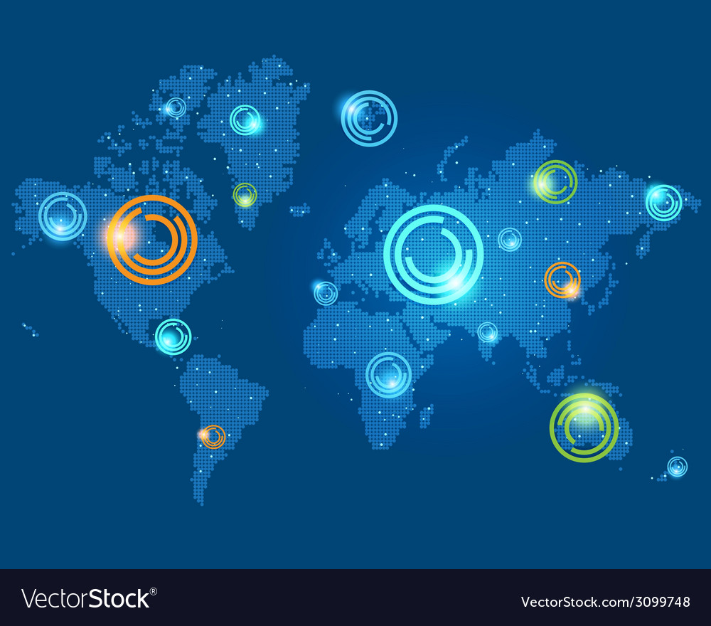 Colored places points on the world map vector | Price: 1 Credit (USD $1)