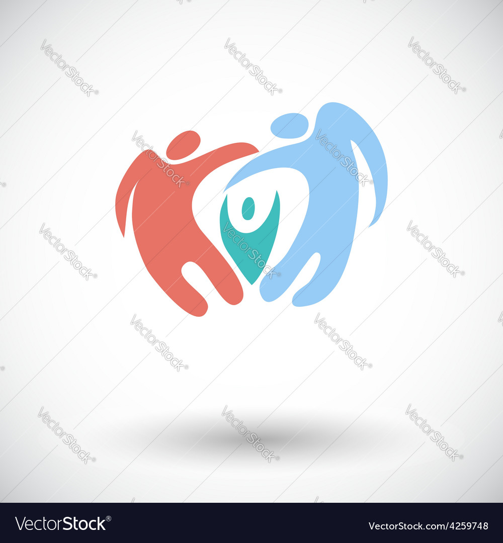 Family flat icon vector | Price: 1 Credit (USD $1)
