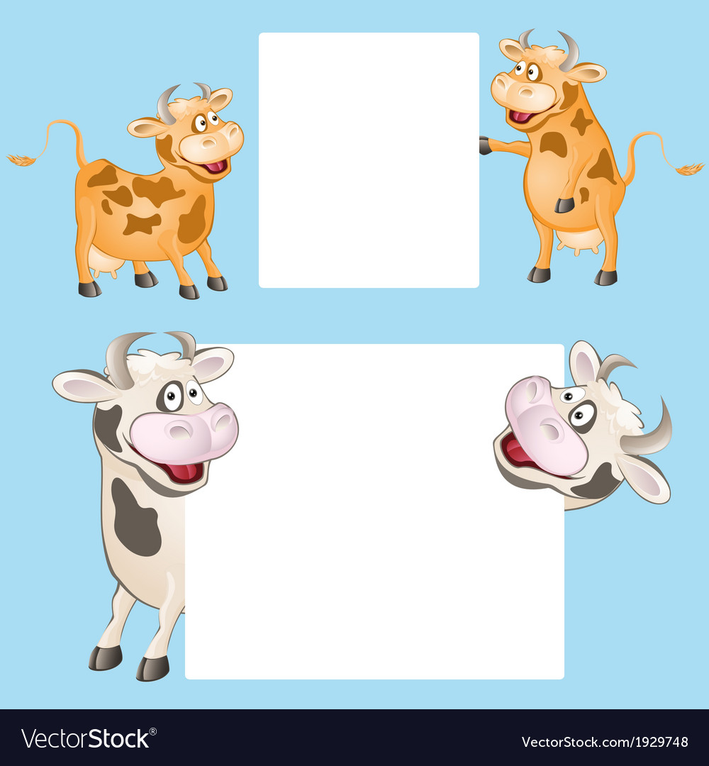 Funny cow with posters vector | Price: 1 Credit (USD $1)