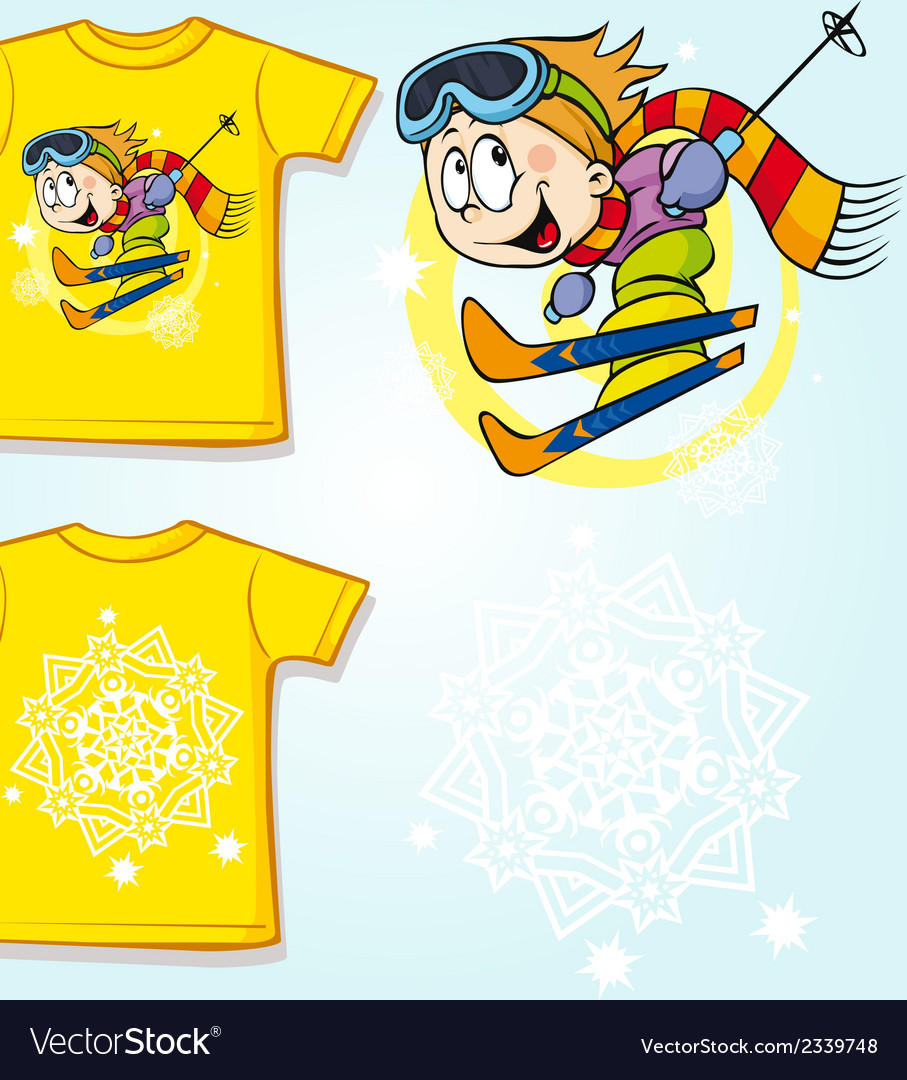 Kid shirt with skier printed - back and front view vector | Price: 1 Credit (USD $1)