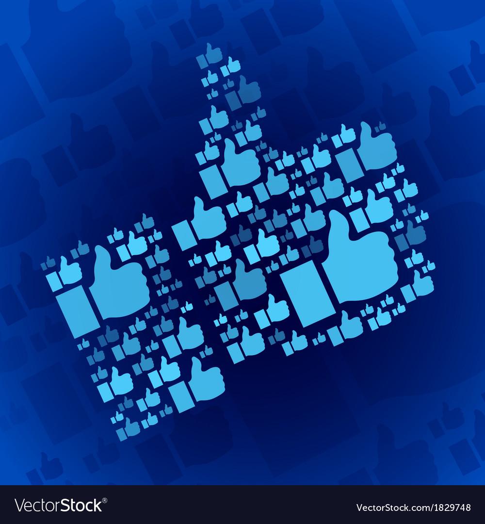 Like symbol on dark blue background vector | Price: 1 Credit (USD $1)