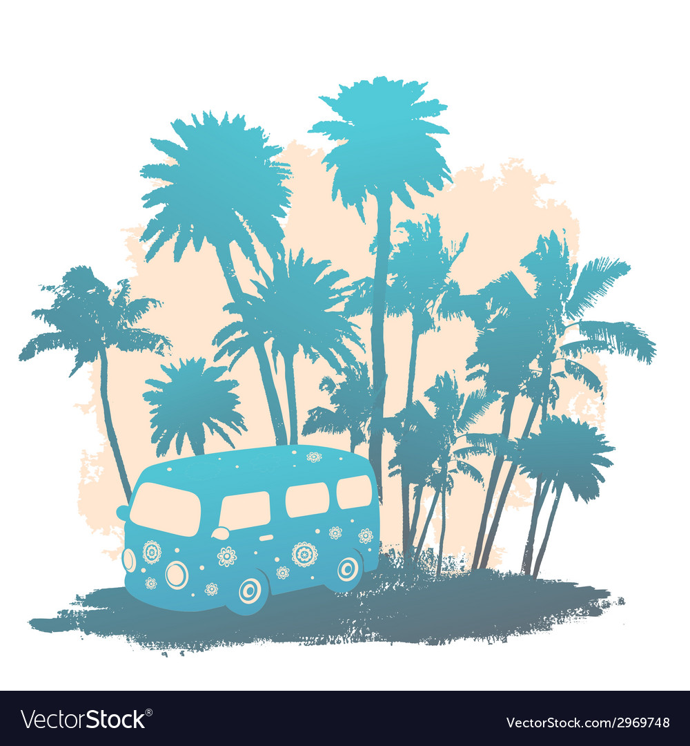 Retro travel bus vector | Price: 1 Credit (USD $1)