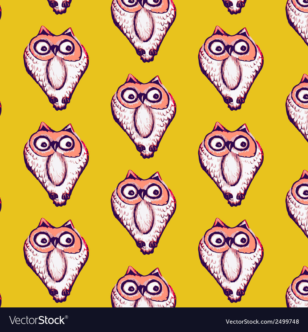 Seamless pattern background of owl vector | Price: 1 Credit (USD $1)