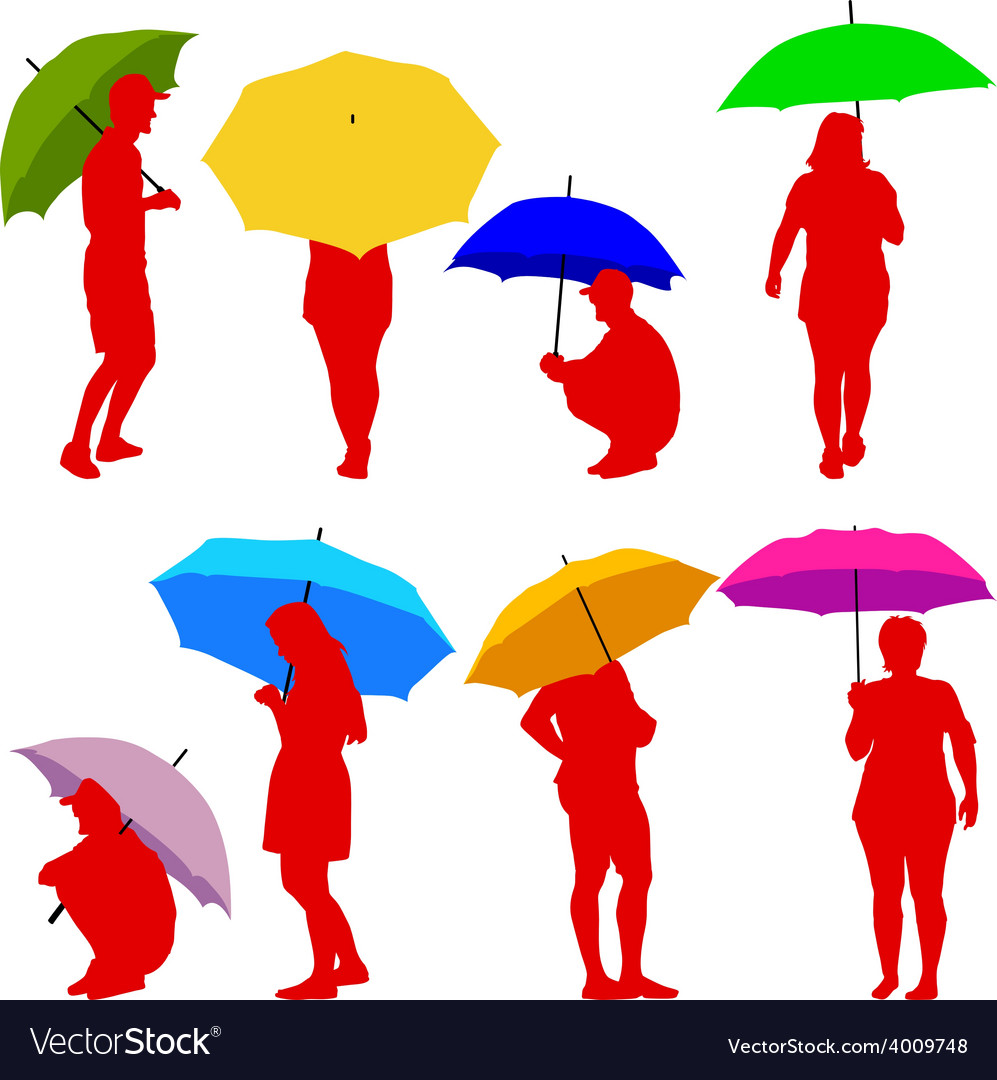 Silhouettes man and woman under umbrella vector | Price: 1 Credit (USD $1)