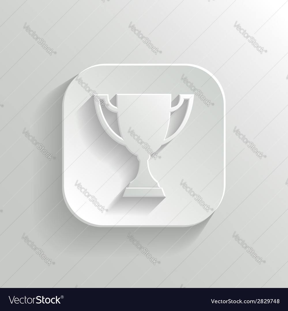 Trophy cup icon - white app button vector | Price: 1 Credit (USD $1)