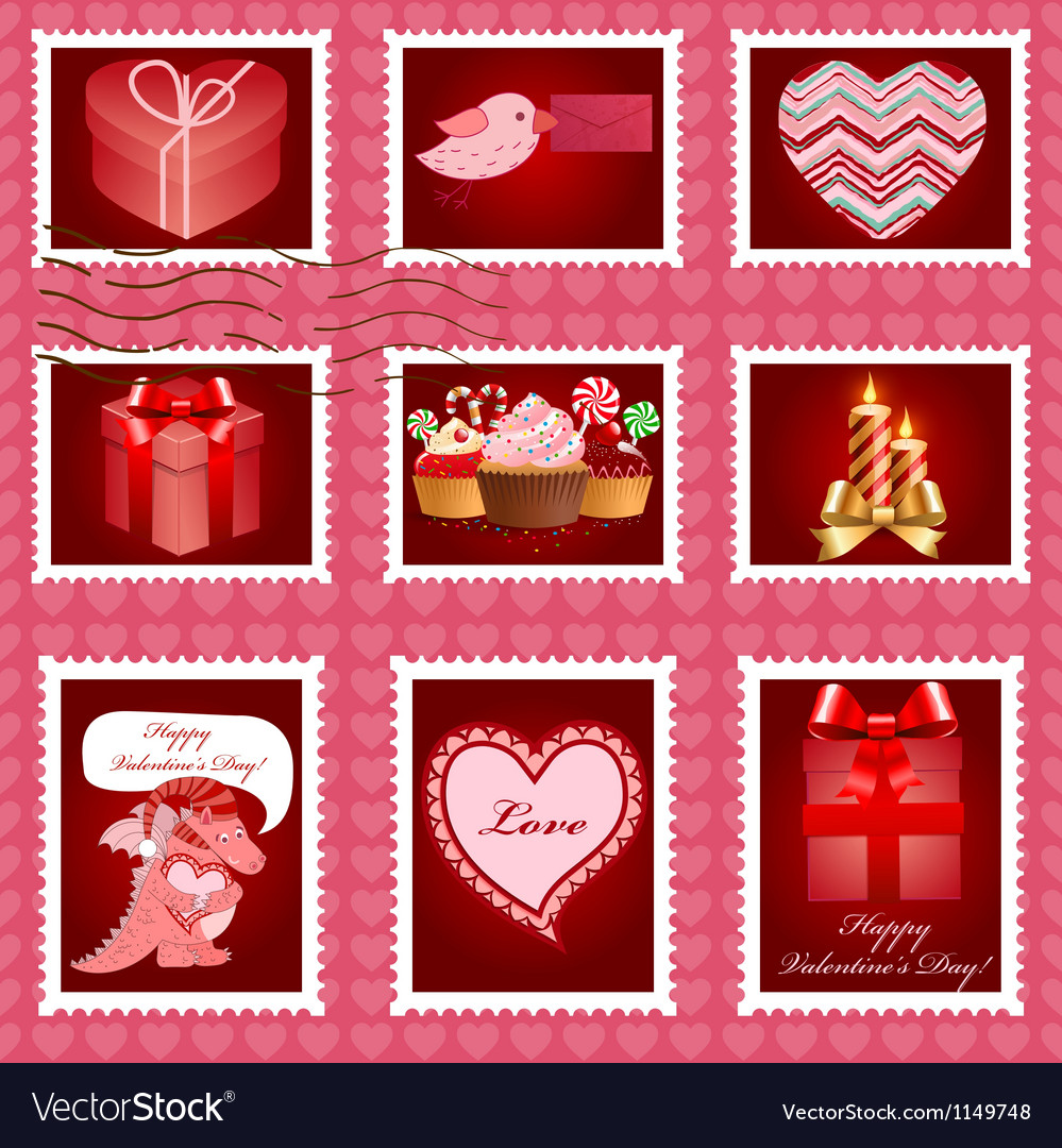 Valentine day postage set vector | Price: 1 Credit (USD $1)