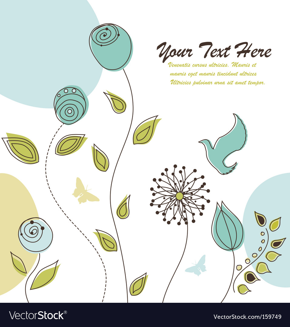 Bird and flowers greeting vector | Price: 1 Credit (USD $1)