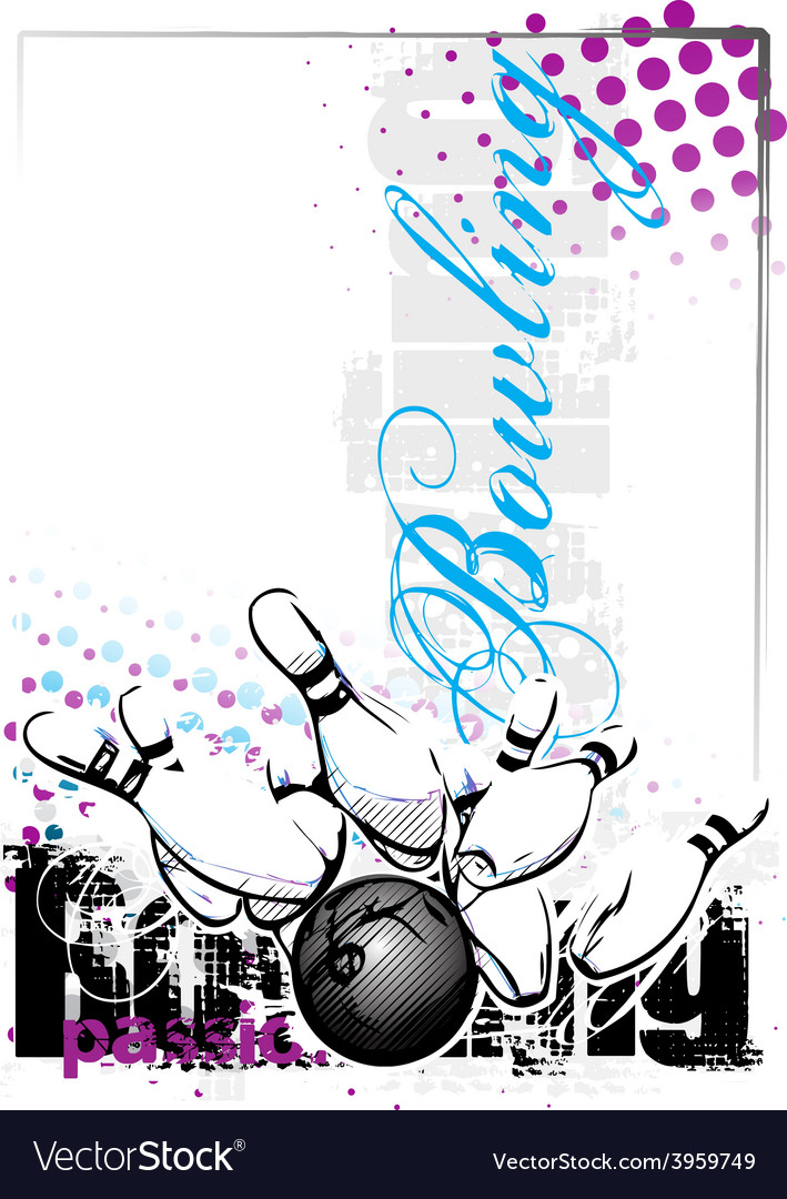 Bowling poster background vector   Price: 1 Credit (USD $1)