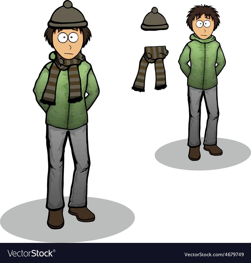 Boy in a winter jacket cartoon vector | Price: 1 Credit (USD $1)