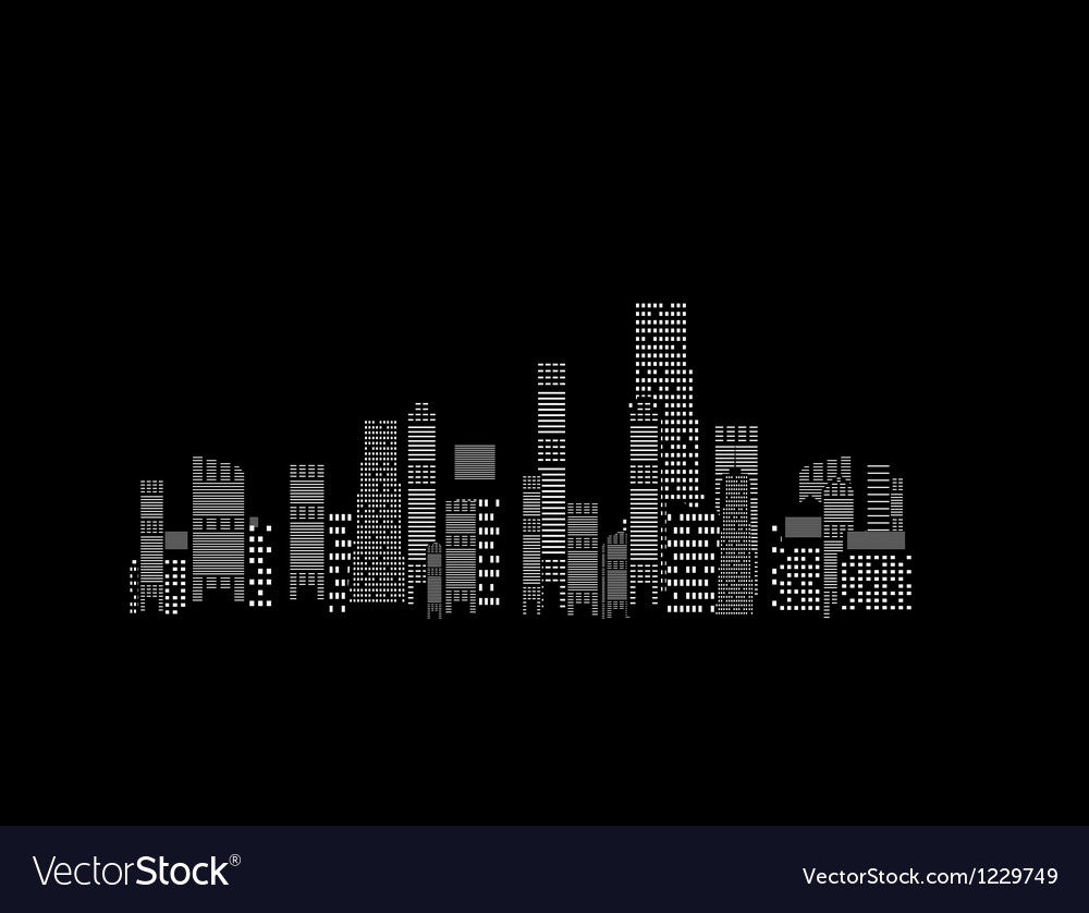 Cities silhouette on black background vector | Price: 1 Credit (USD $1)