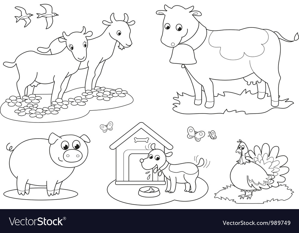 Coloring farm animals 2 vector | Price: 1 Credit (USD $1)