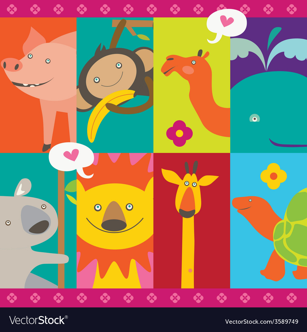 Cute design with cartoon animals characters vector | Price: 1 Credit (USD $1)
