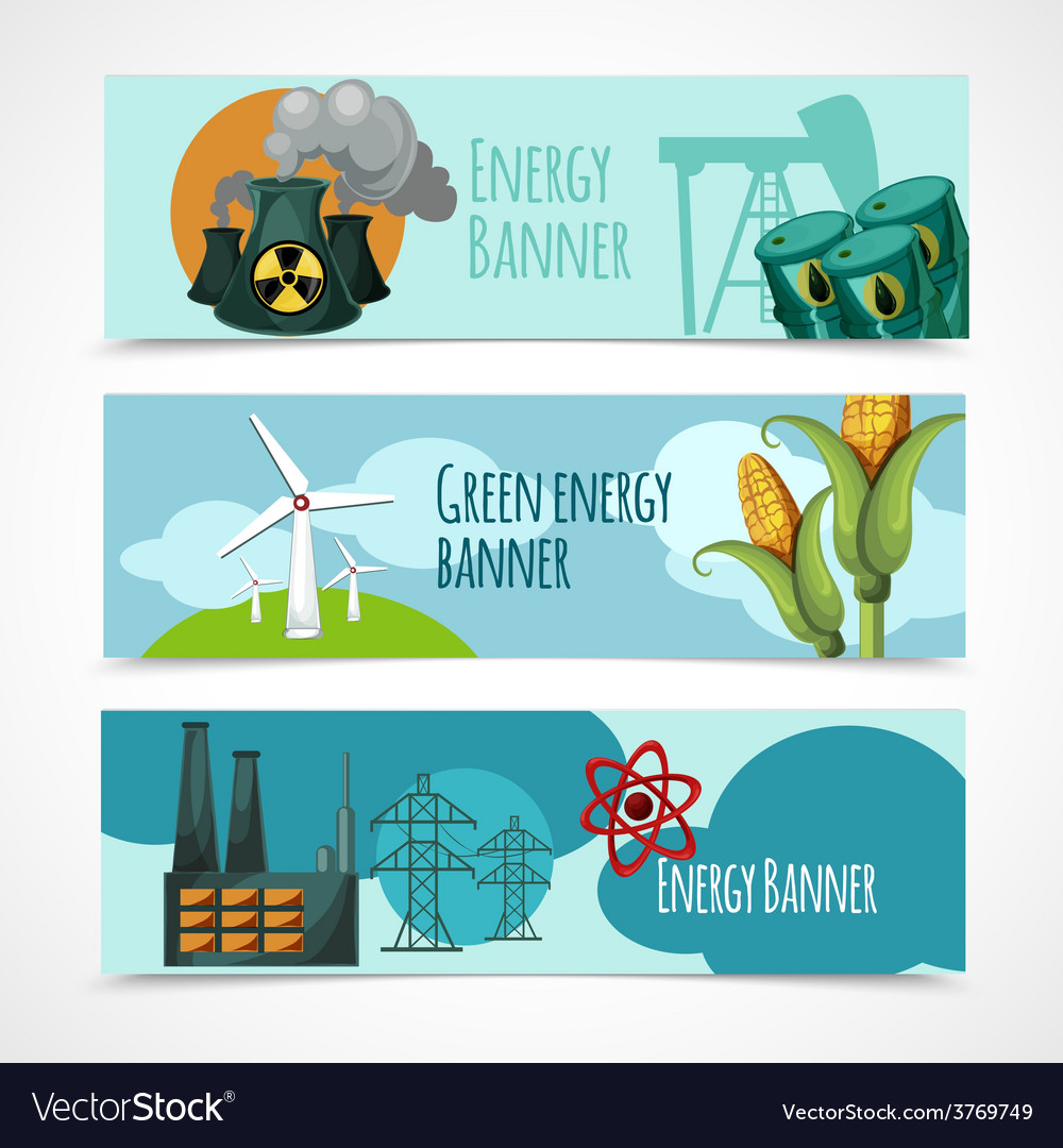 Energy banner set vector | Price: 1 Credit (USD $1)